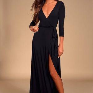 Lulu's garden district black wrap maxi dress